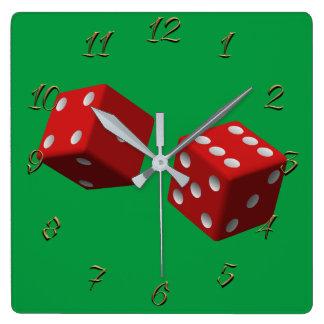 Gambling hall square wall clock