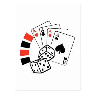 GAMBLING MONTAGE POSTCARD
