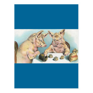 Gambling Pigs Postcard