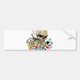 Gambling Skull Bumper Sticker