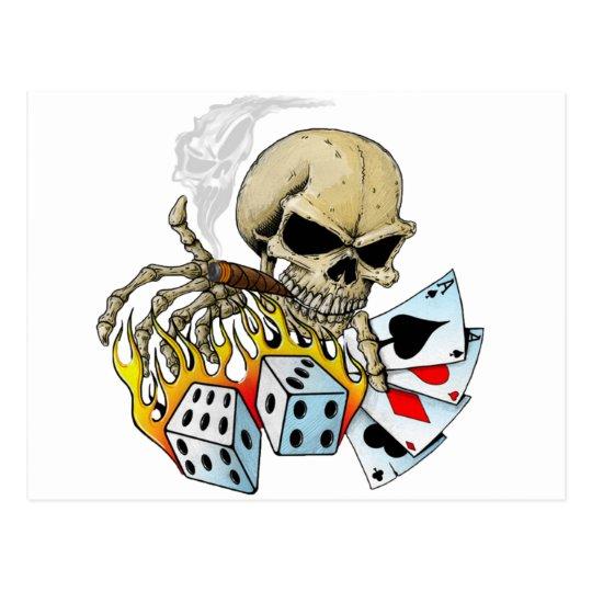 Gambling Skull Postcard