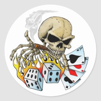 Gambling Skull Round Sticker