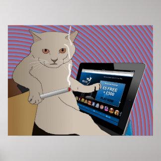 Gambling, Smoking cat playing ipad casino Poster
