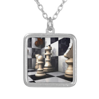 Game Chess Hobby Silver Plated Necklace