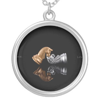 Game Chess Play Silver Plated Necklace