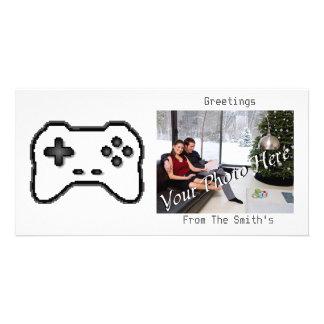 Game Controller Black White 8bit Video Game Style Custom Photo Card