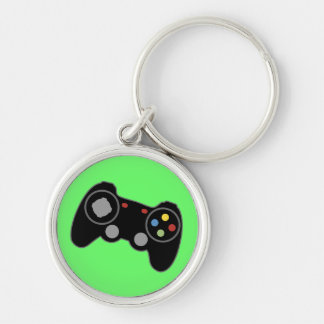 Game Controller Silver-Colored Round Keychain