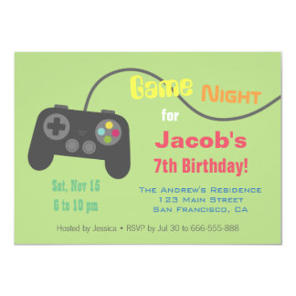 Game Controller Video Game Night Party Card