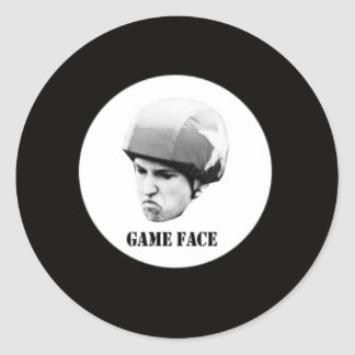 game face.jpg classic round sticker