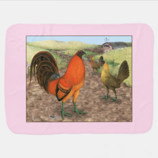 Game Fowl on the Farm Baby Blanket