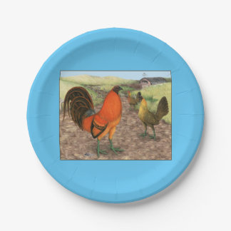 Game Fowl on the Farm Paper Plate