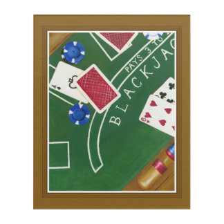 Game of Blackjack with Chips by Chariklia Zarris Acrylic Print