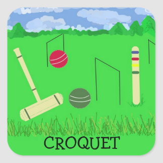 Game of Croquet Square Sticker