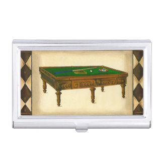 Game of Eight Ball on Billiards Table Case For Business Cards