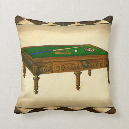 Game of Eight Ball on Billiards Table Throw Pillow