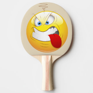 Game on Angry Happy Face in Yellow Personalized Ping Pong Paddle