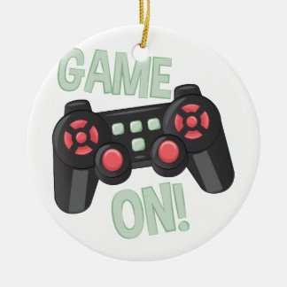 Game On Round Ceramic Ornament