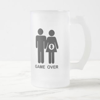 Game Over 16 Oz Frosted Glass Beer Mug