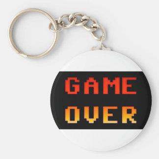 Game over 8bit retro basic round button keychain
