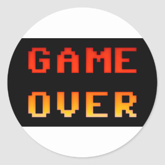 Game over 8bit retro classic round sticker