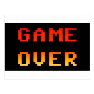 Game over 8bit retro postcard