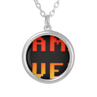 Game over 8bit retro silver plated necklace