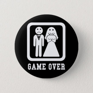 Game Over | Bachelor Stag Party Gift (Black/White) 2 Inch Round Button