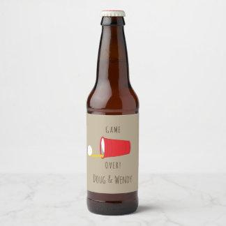 Game Over! Funny Beer Pong Beer Bottle Label