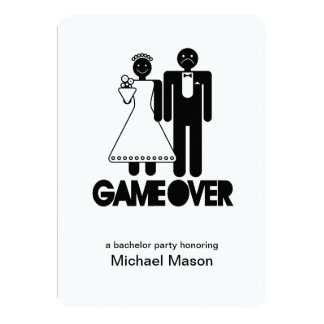 """Game Over - Last day as a free man Bachleor Party 5"""" X 7"""" Invitation Card"""