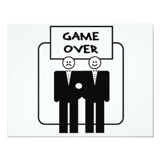 """""""Game Over"""" Marriage (Homosexual) 4.25"""" X 5.5"""" Invitation Card"""