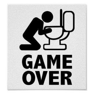 Game over puke toilet poster