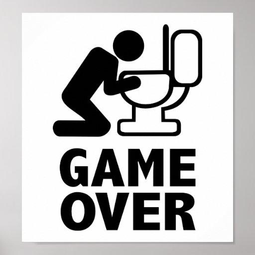 Game over puke toilet print