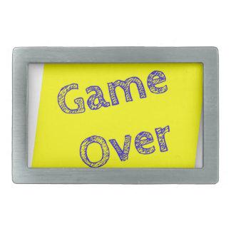 Game over rectangular belt buckle