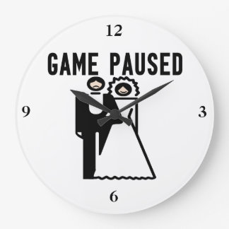 Game Paused Bride & Groom Clocks