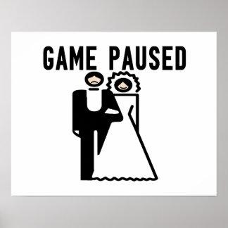 Game Paused Bride & Groom Poster