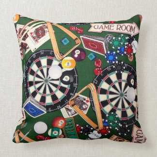 Game Room Darts Billiards Cards Throw Pillow