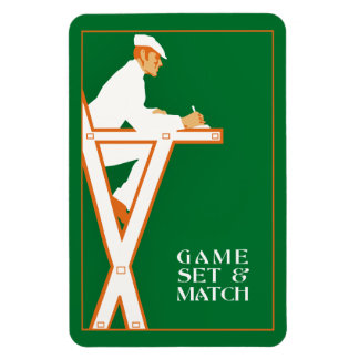 Game set and match, retro tennis referee magnet
