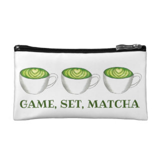 Game Set Match Matcha Green Tea Latte Foodie Cosmetic Bag