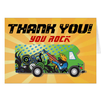 Game truck party thank you note cards