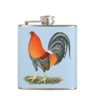 Gamecock Blue Red Rooster Hip Flask
