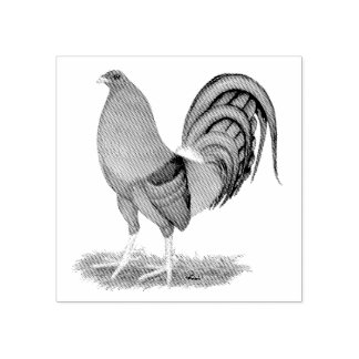 Gamecock Blue Red Rooster Rubber Stamp