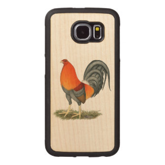 Gamecock Blue Red Rooster Wood Phone Case