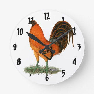 Gamecock Ginger Red Rooster Round Clock