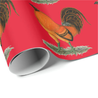 Gamecock Ginger Red Rooster Wrapping Paper