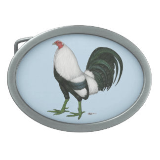 Gamecock Silver Duckwing Oval Belt Buckle