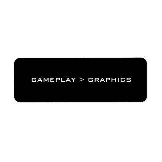 Gameplay > Graphics. Black White. Return Address Label