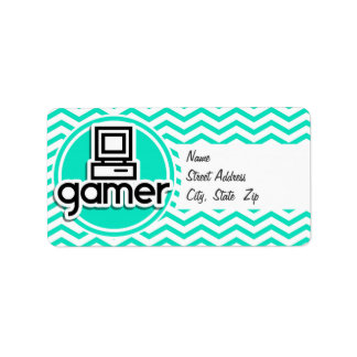 Gamer Aqua Chevron vert Étiquette D'adresse