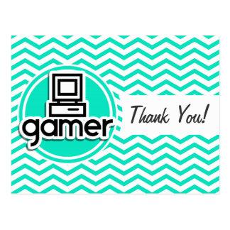 Gamer Aqua Chevron vert Cartes Postales