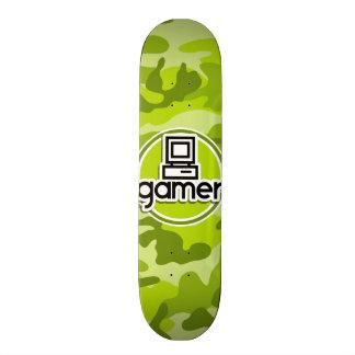 Gamer; bright green camo, camouflage skate boards