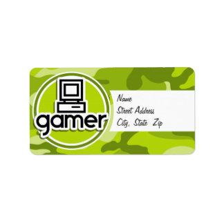 Gamer camo vert clair camouflage étiquette d'adresse